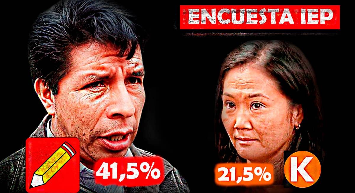 Encuesta IEP predro Castillo Keiko Fujimori