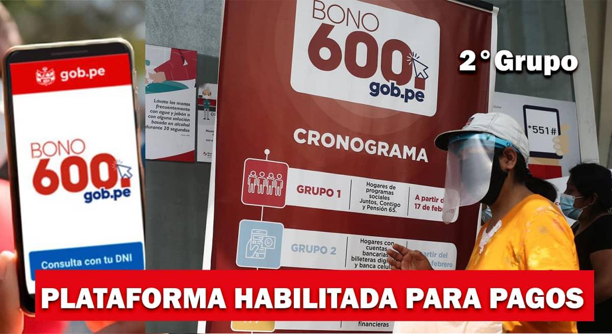 2° Grupo: Bono 600 se pagará entre el 14 y 22 de Abril | Plataforma Habilitada