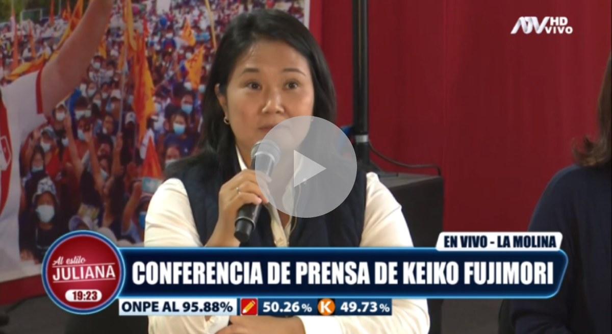 """Keiko Fujimori denunció que hay """"indicios de fraude"""" electoral"""