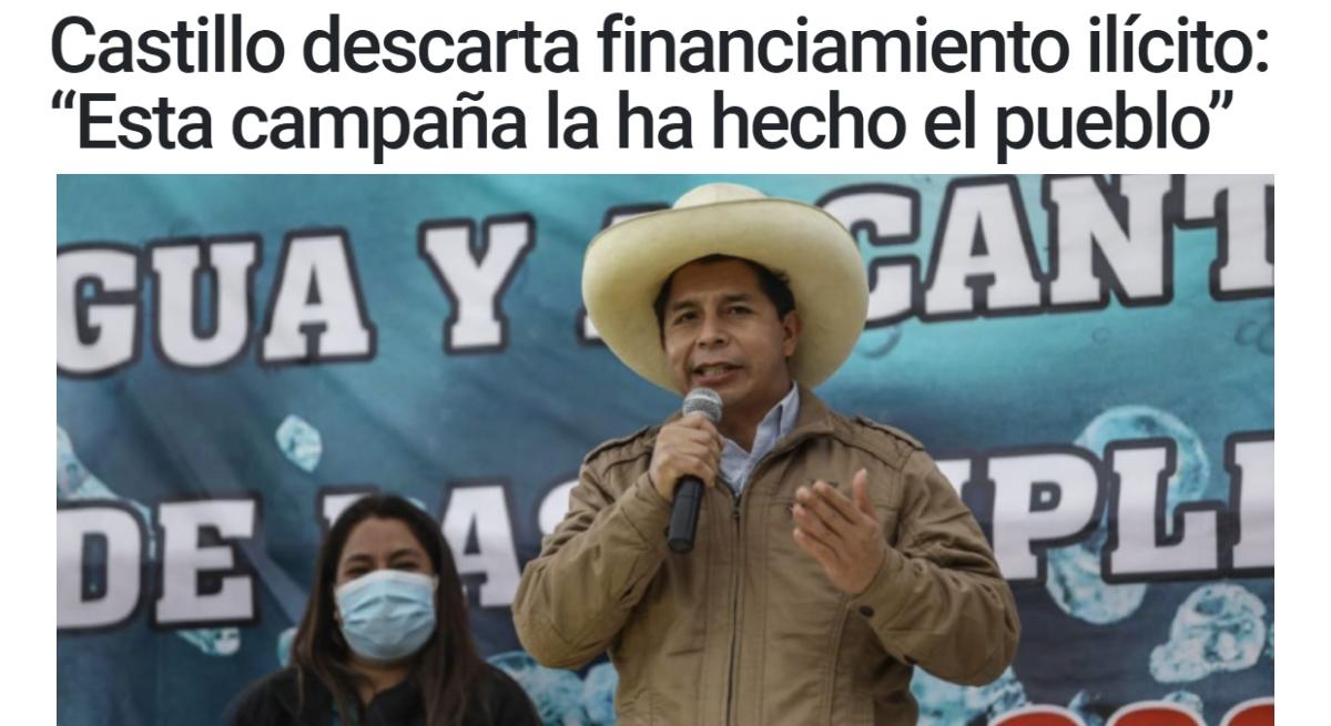 Castillo desmiente financiamiento ilícito en campaña y creación de nuevo Partido Político