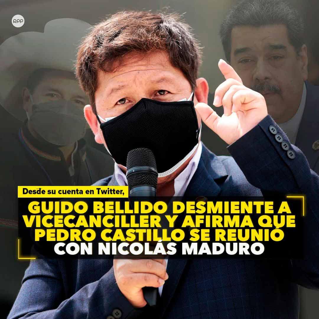Pedro Castillo se reunió con Nicolás Maduro según Bellido