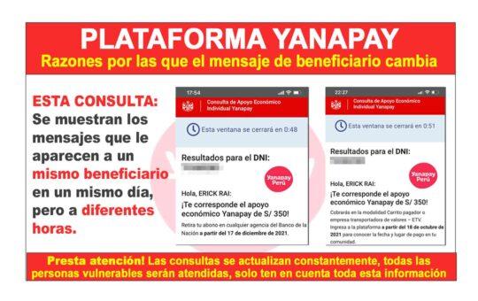 Consulta modalidades de pago Bono Yanapay