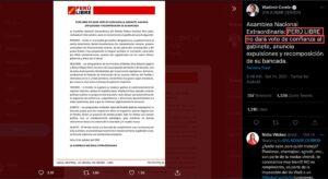 Cerrón crea división entre Pedro Castillo y Perú Libre